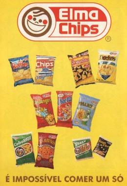 Catálogo de produtos da Elma Chips de 1994. Muitos salgadinhos não são mais comercializados.