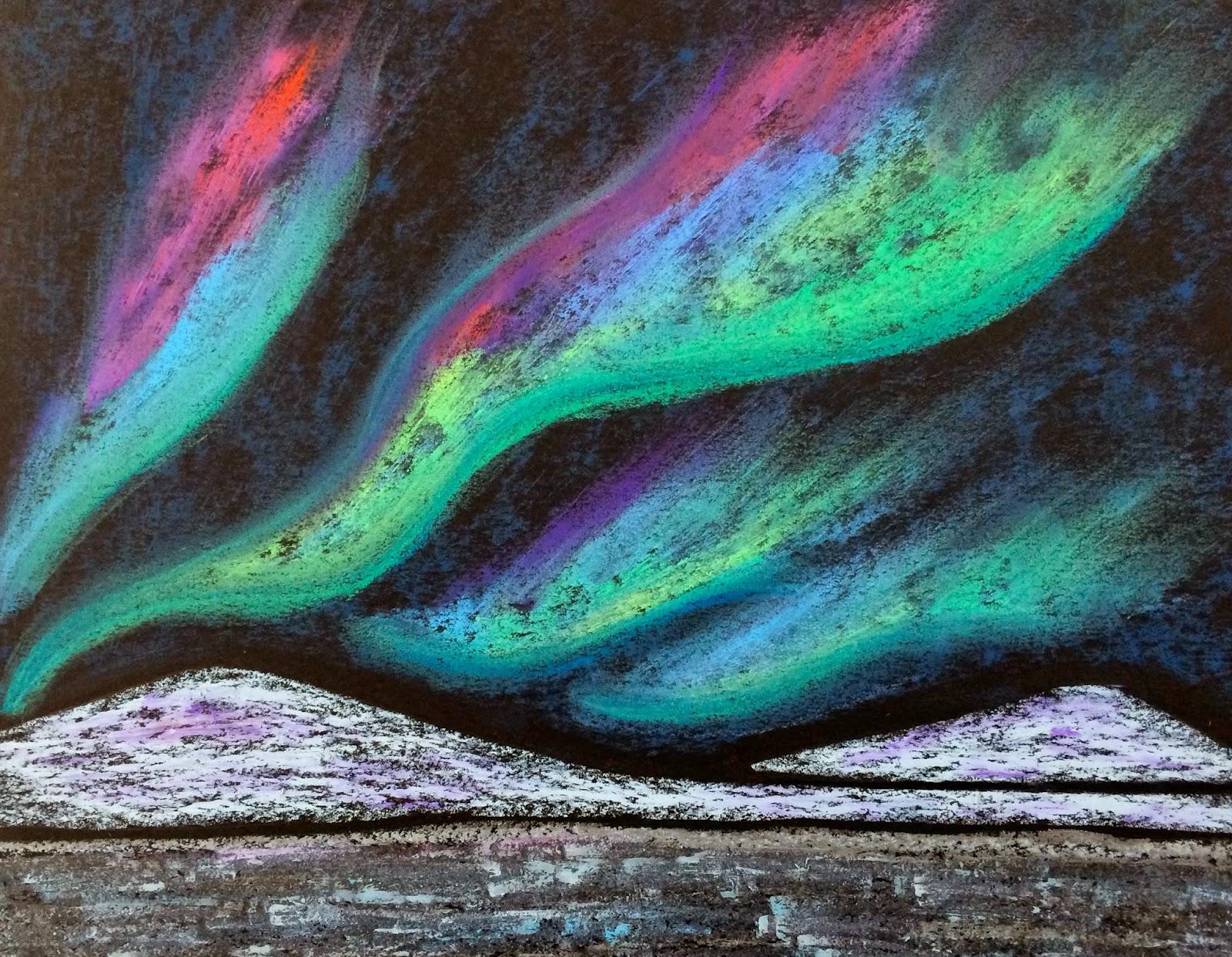 kathy s angelnik designs art project ideas northern lights winter
