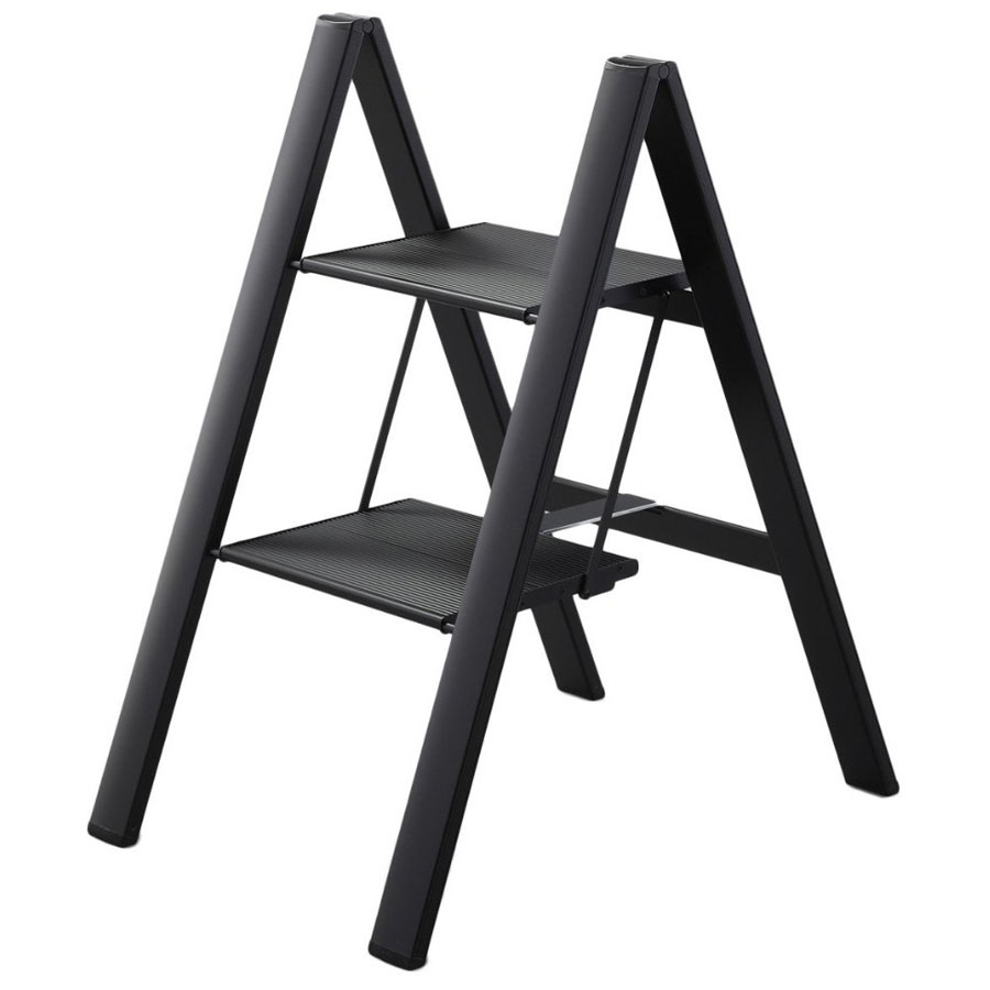 Stardust Step Ladder Black Aluminum Compact Portable