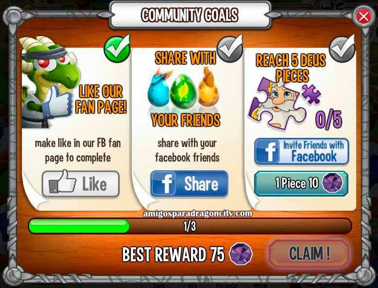 imagen de gana 75 gemas gratis en los retos de deus de dragon city