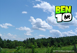 Ben 10 desktop Wallpapers Ben Ten Logo in Tropical Forest Sky desktop wallpaper
