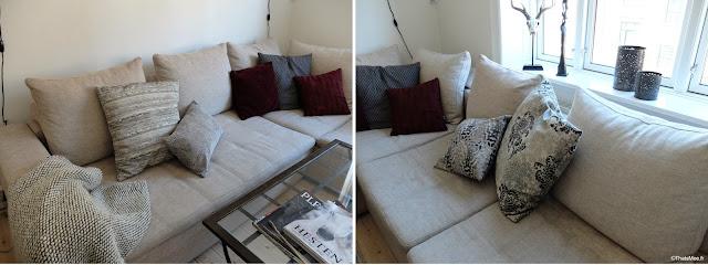 déco salon appartement danois scandinave canapé coussin