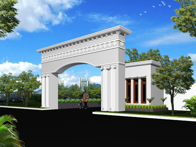 Desain Main Gate Mediteran