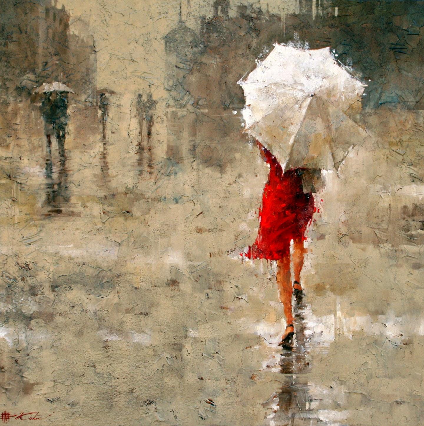 caminhando na chuva - pinturas com espátula