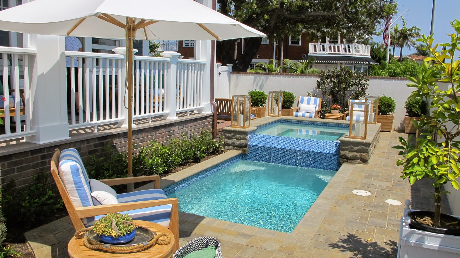 Nautical by Nature | Coastal Living Showhouse Coronado: Backyard, Porch, Pool