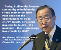 Ban Ki-Moon calls on investors to double clean finance by 2020 (Credit: twitter.com/search?q=%23investorsummit&src=typd) Click to Enlarge.