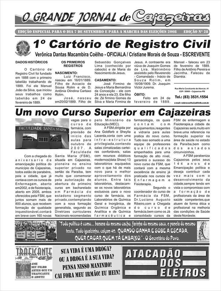 O GRANDE JORNAL DE CAJAZEIRAS TEM UM PAGINA ESPECIAL PARA CAJAZEIRAS PB