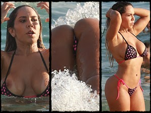 Mulher Melao Na Praia Mostrando Os Seios