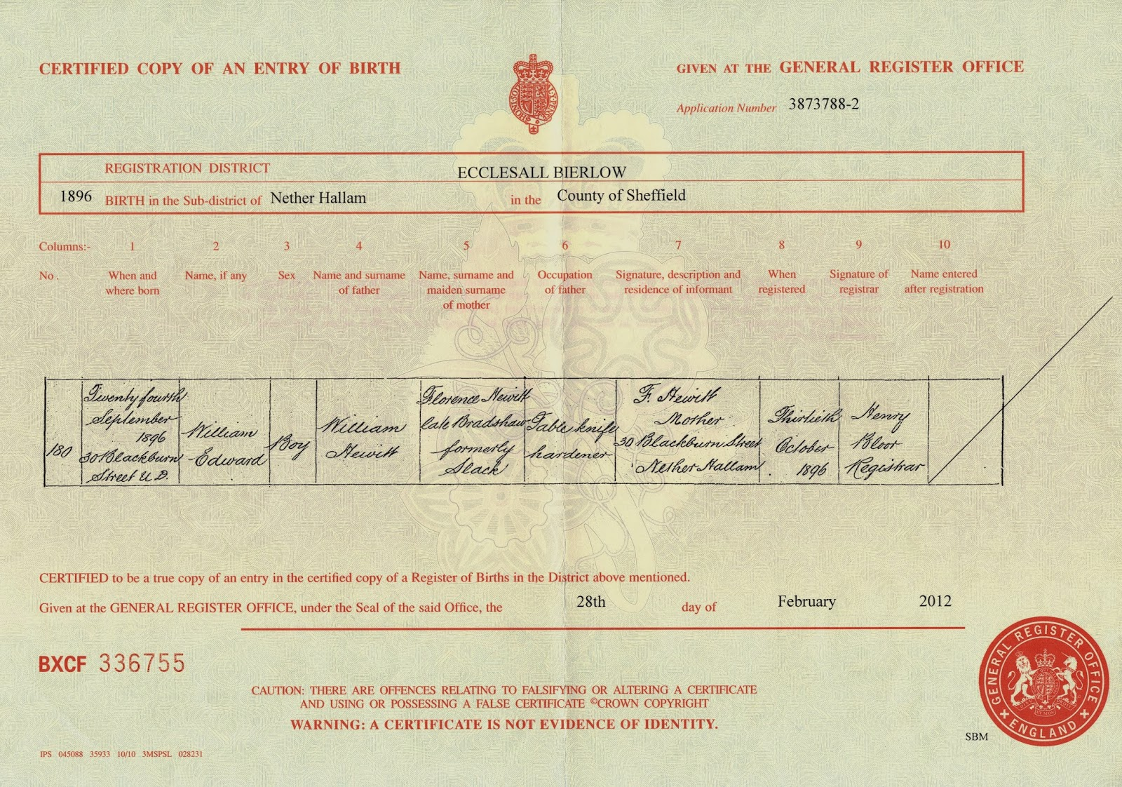 My link to the past william edward hewitt born 1896 william edward hewitts birth registration 24 sep 1896 nether hallam sheffield england aiddatafo Image collections