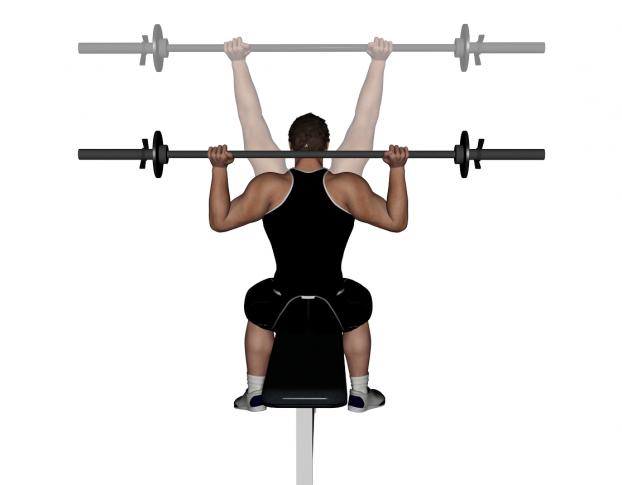 Barbell shoulder press front or back