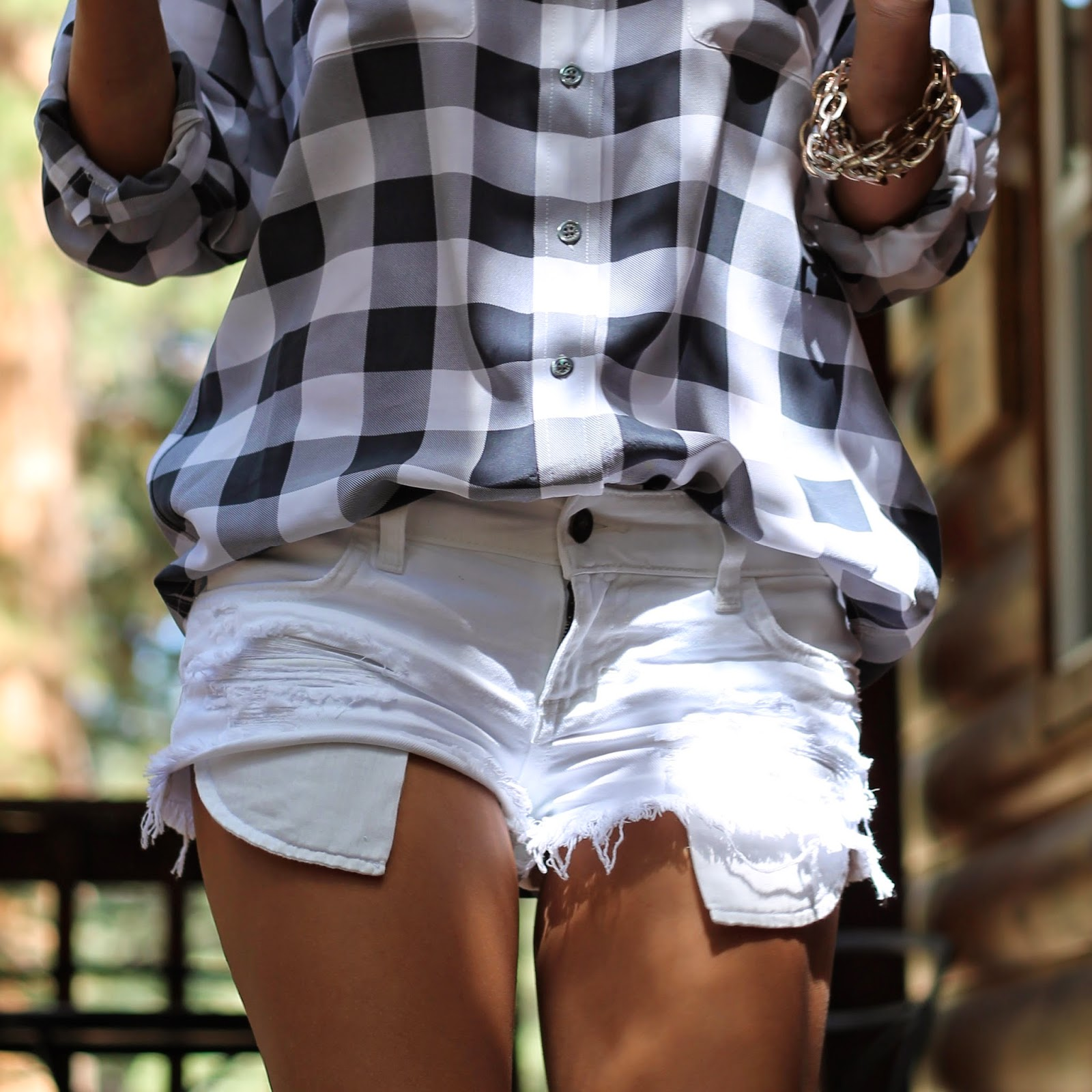 gingham shirt, what to wear camping, cutoff denim, shorts