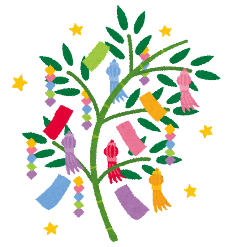 すべての折り紙 七夕 折り紙 くす玉 : 七夕のイラスト「笹の葉と短冊 ...