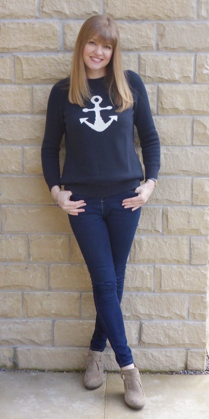 Outfit: Anchor Jumper and Navy Spotty Scarf - What Lizzy Loves