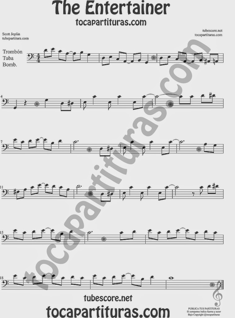 The EntertainerPartitura de Trombón, Tuba Elicón y Bombardino Sheet Music for Trombone, Tube, Euphonium Music Scores