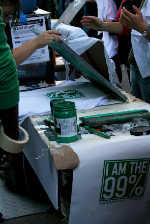 Silkscreening tee shirts at Occupy Wall Street