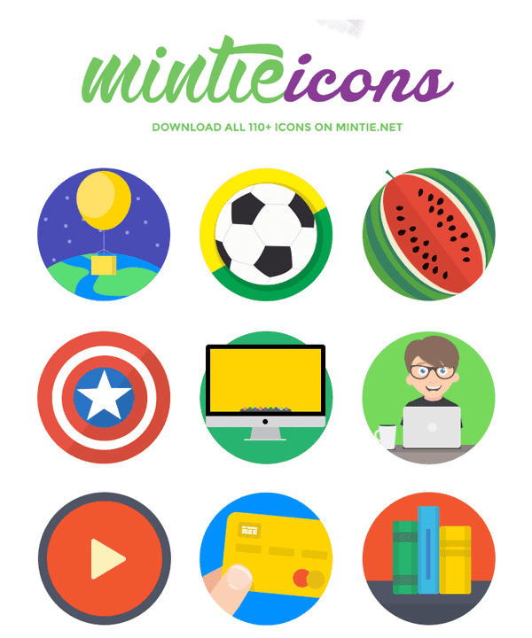 Mintie – 40 Flat Fresh Icons