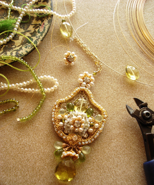 Work in progress photo of the Fleur de Citronnier necklace