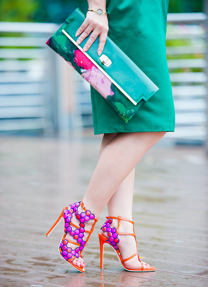 Gianmarco Lorenzi colorblock heels and Balenciaga Green Floral Clutch