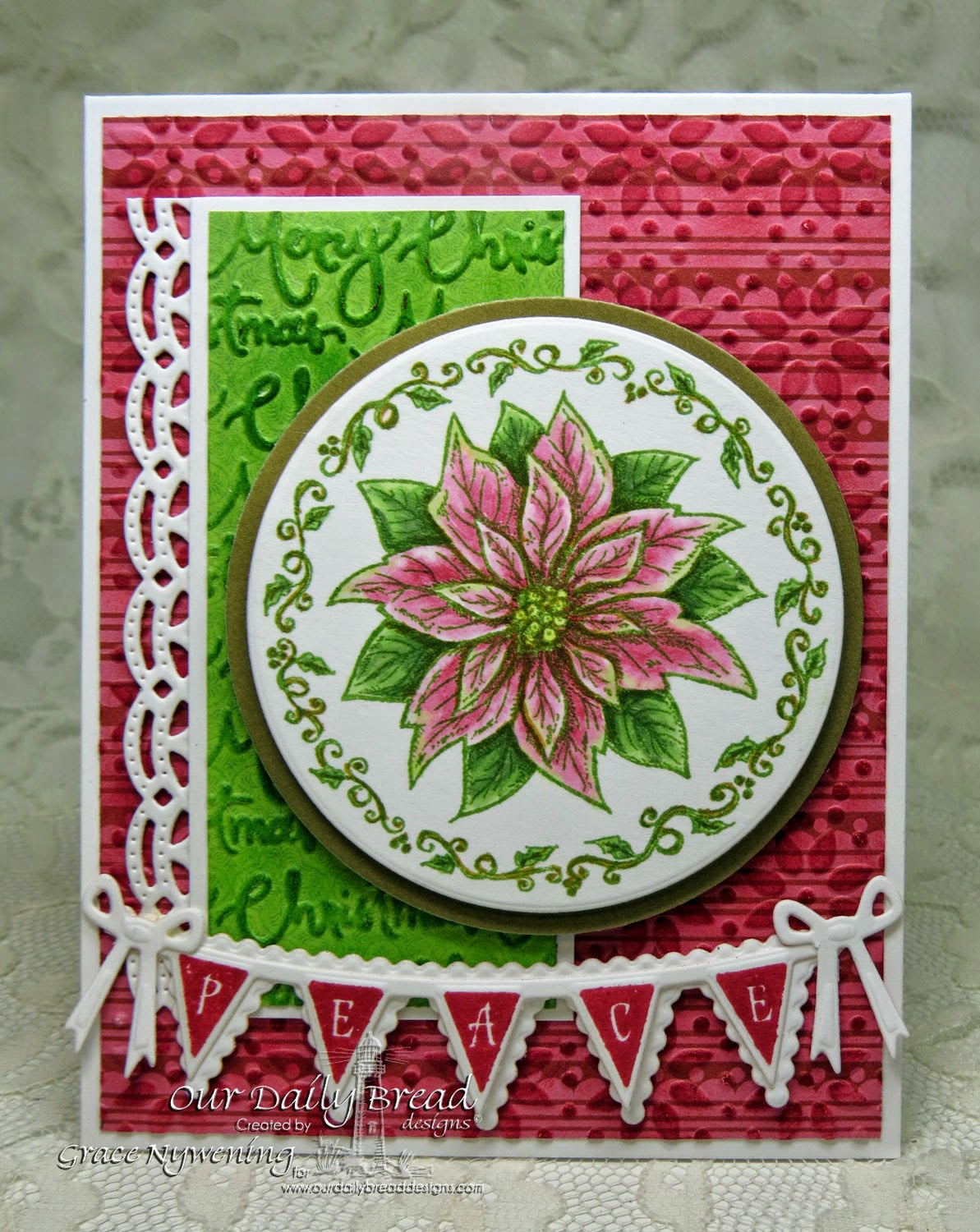 ODBD stamps: Poinsettia Ornament, Christmas Pennant Row, designed by Grace Nywening