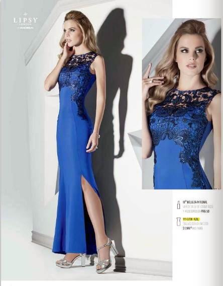 Vestido largo color azul, andrea 2015