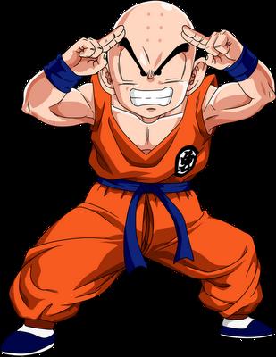Desenho Kuririn Dragon Ball Z colorido com fundo transparente