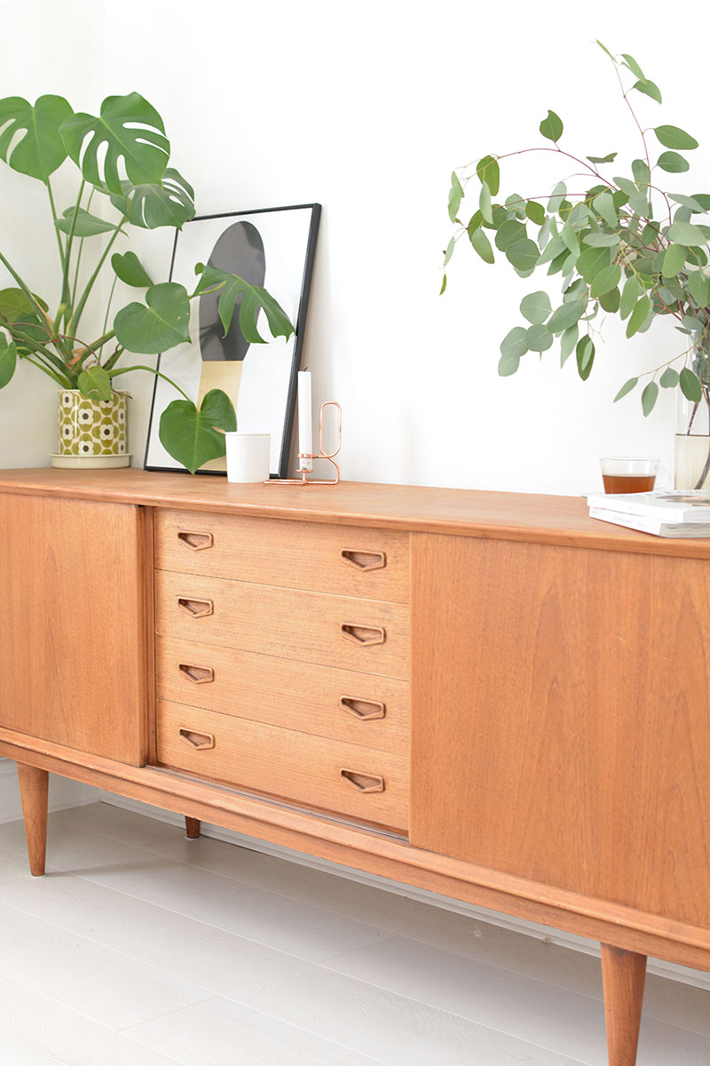 vintage sideboard and plants