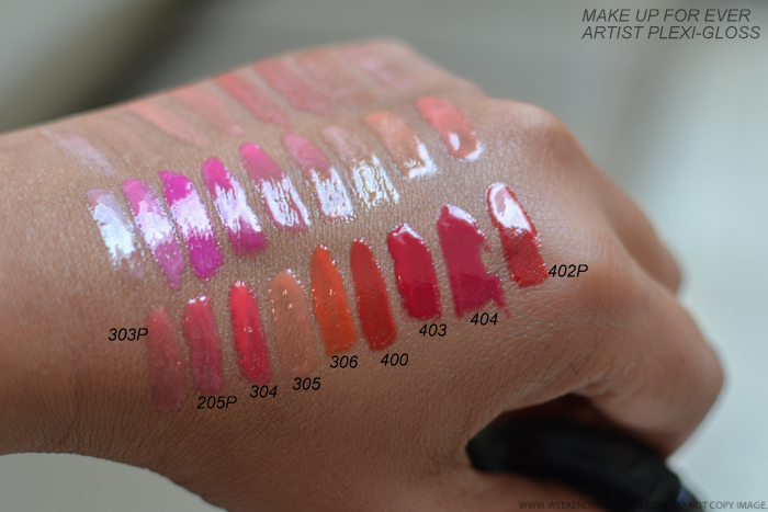 MUFE Make Up For Ever Artist Plexi-Gloss Swatches 303P 205P 304 305 306 400 403 404 402P