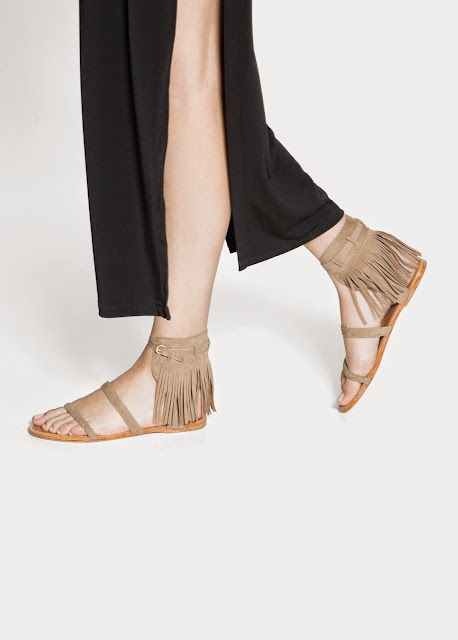beige fringe sandals, mango fringed sandals,