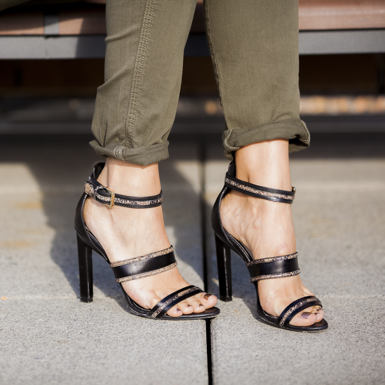 Jason Wu Leather snake print strappy sandals