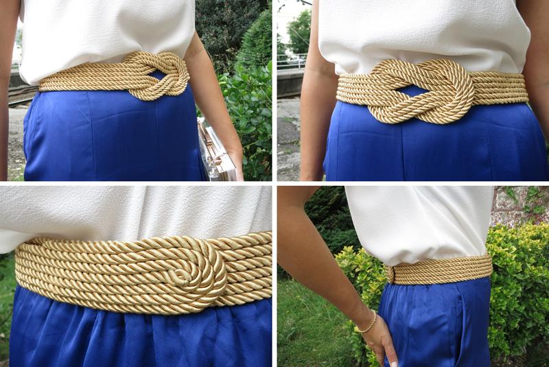 Decorar en familia _Diy cinturón de cordón de seda dorado8