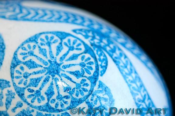Delft Blue Floral Contemporary Batik Eggshell