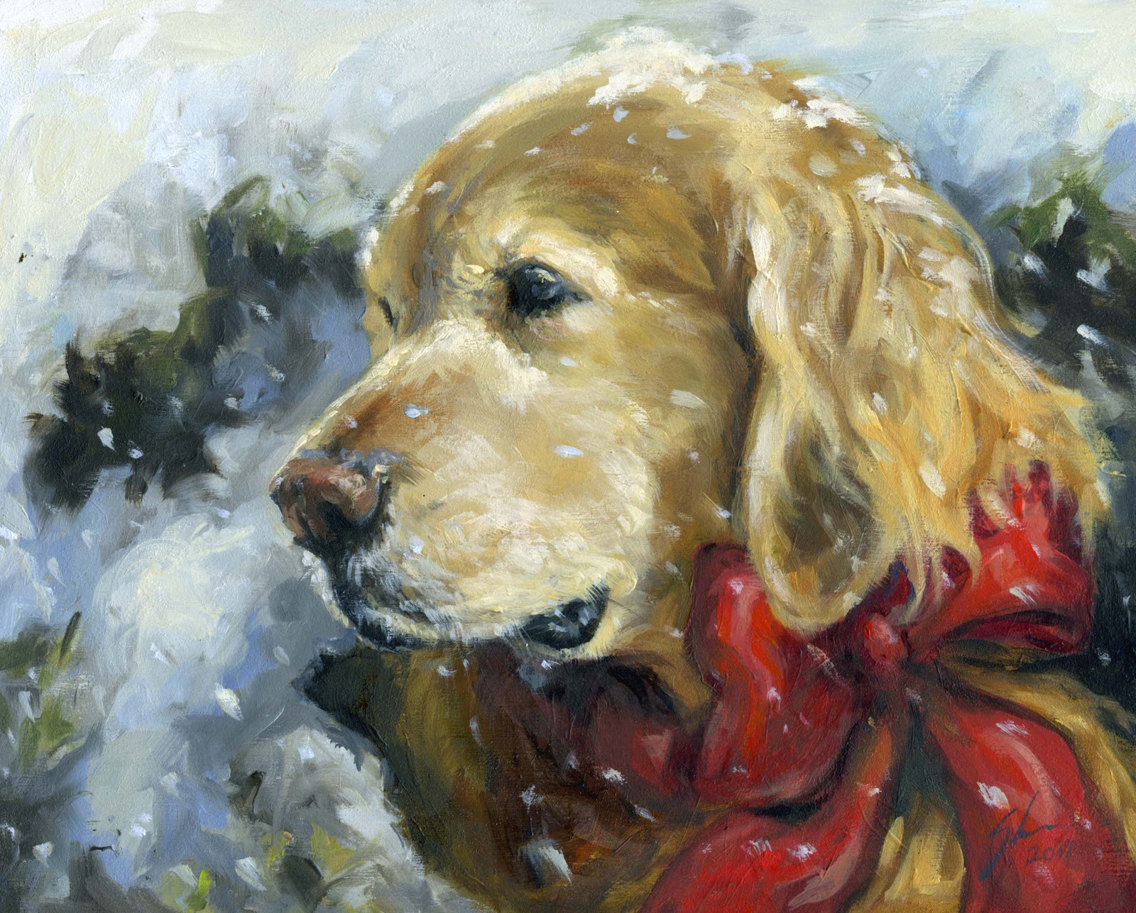 golden retriever rescue holiday card artwork 2011
