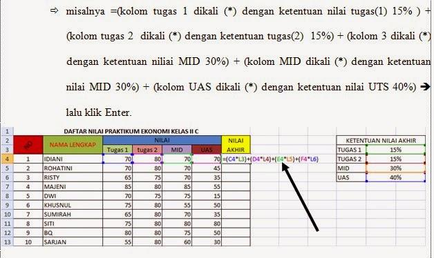 Pratinjau Isi Makalah Peenggunakan rumus Microsoft Excel