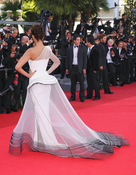 """The gorgeous Bollywood Actress Sonam Kapoor looked edgy, elegant and chic in a sheer Jean Paul Gaultier Couture one-shoulder gown at the """"The Artist"""" premiere held at the Palais des Festivals during the 64th Annual Cannes Film Festival on May 15, 2011 in Cannes, France."""