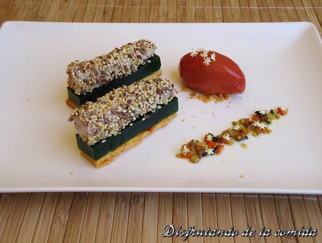 Rape, gelatina de pepino y sorbete de tomate