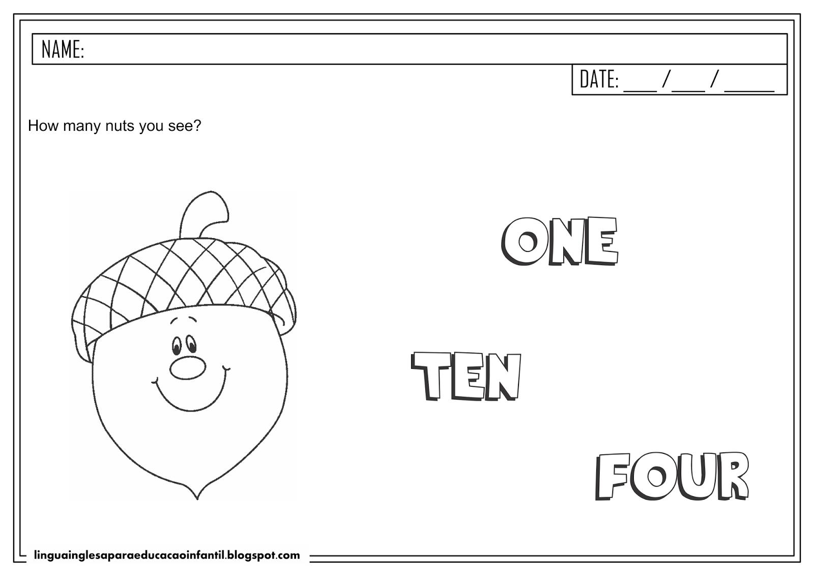 Atividade de inglês - Número 1 para educação infantil