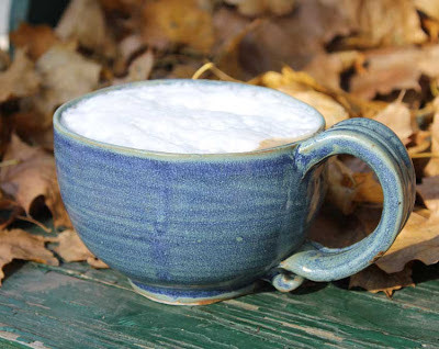 coffee in a blue mug