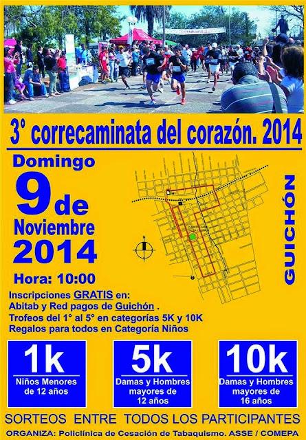10k y 5k Correcaminata del corazón en Guichón (Paysandú, 09/nov/2014)