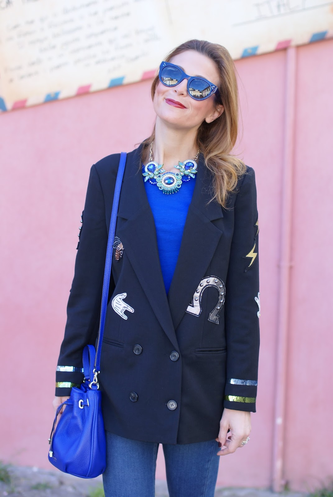 Vogos appliqued blazer with lucky charms and Kate Spade bag on Fashion and Cookies fashion blog, fashion blogger style