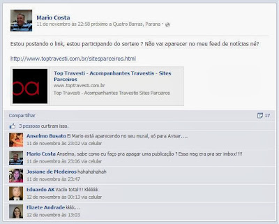 Mario vacila no Facebook
