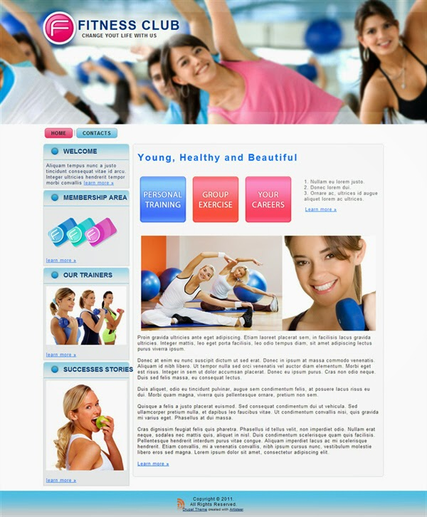 Fitness Club - Free Drupal Theme