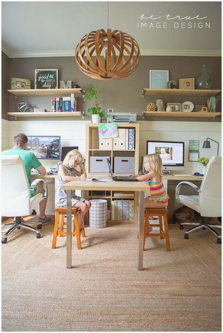 Belle maison inspiration snapshot chic family home office - Home office space design ...