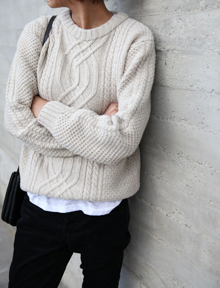 chunky knit sweater, tomboy, easy elegance