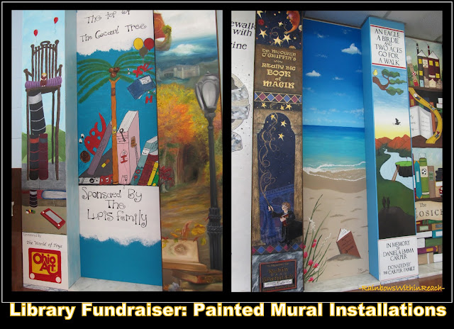 photo of: Painted Columns in Children's Library as Fundraiser, Mural Paintings