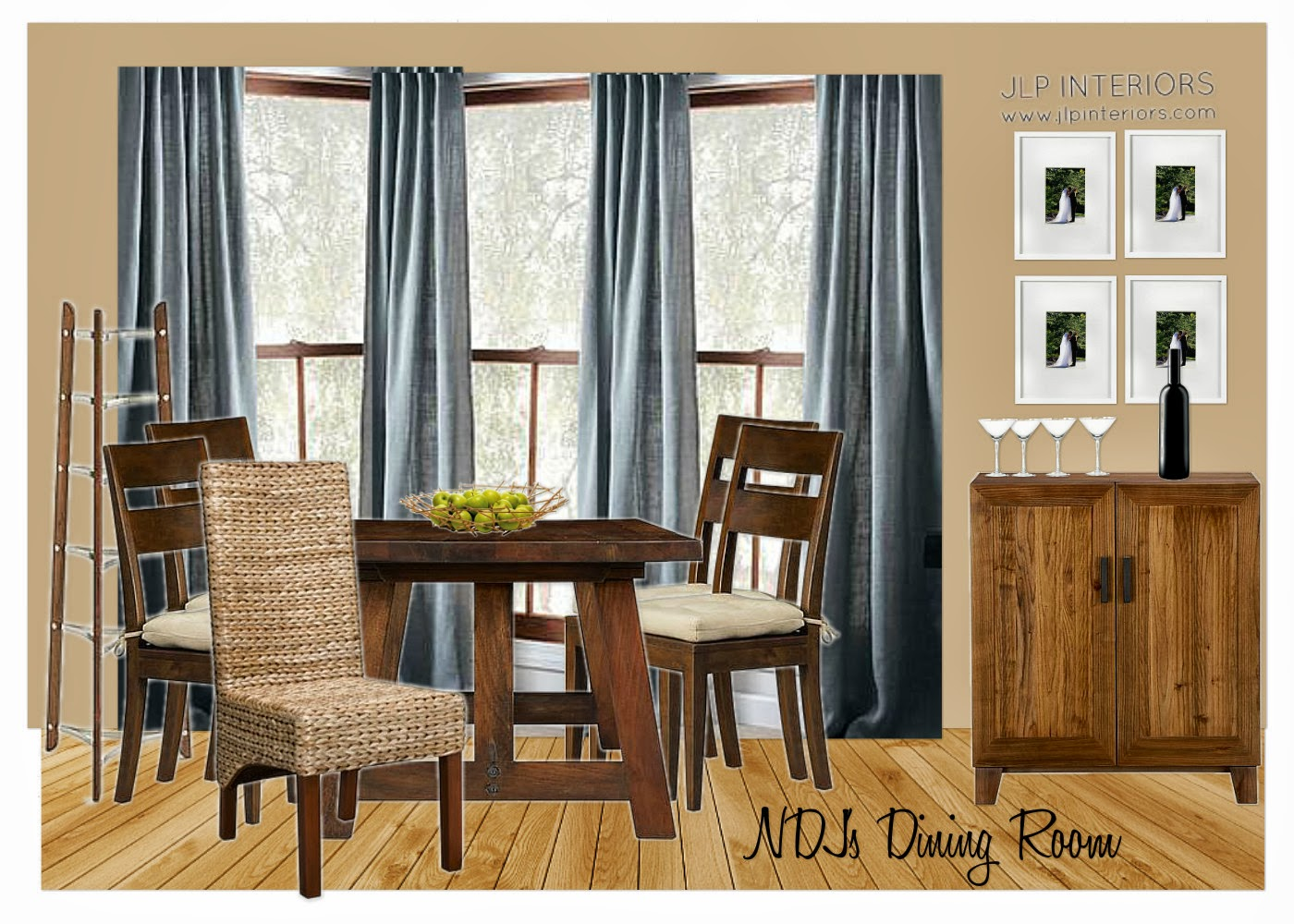Home with baxter e design ndj 39 s dining room kitchen for Dining room elevation