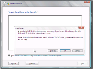 mengatasi eror A required CD/DVD device driver is missing