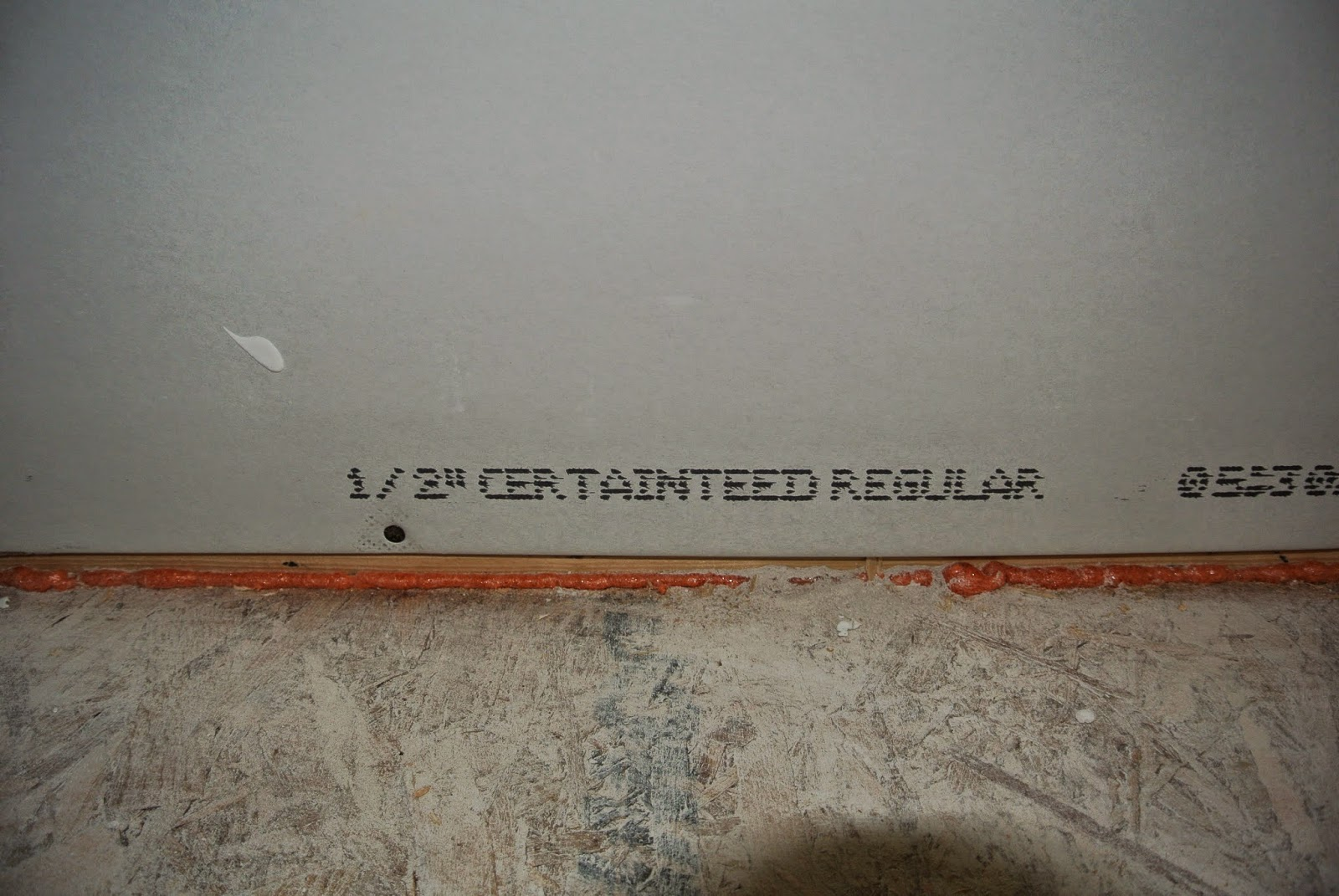 Picture of label on sheet rock indicating a half of an inch