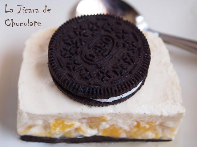 Tarta de Queso con Melocotón y Galletas Oreo (sin horno)