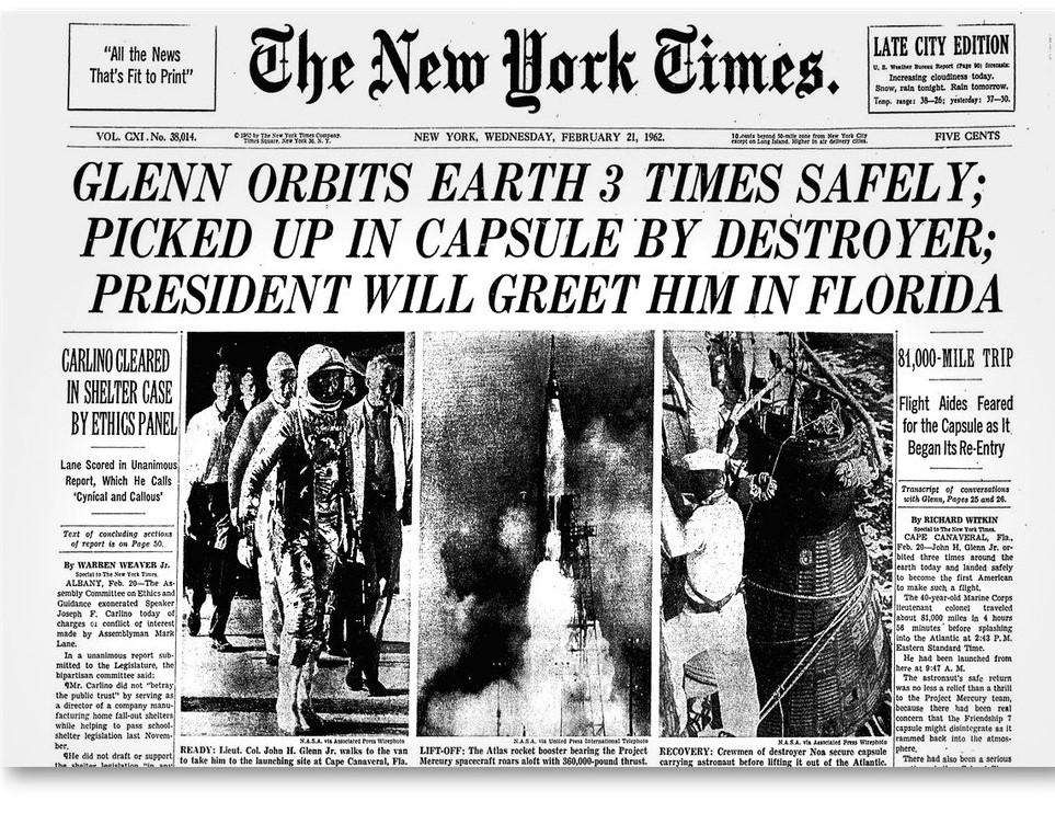 Glenn Orbits Earth 3 Times Safely...