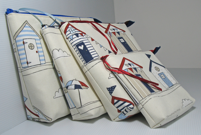 Beach Huts Open Wide Zippered Pouches in various sizes - makeup bag, cosmetic bag, lots of uses ~ Threading My Way